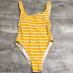 Yellow Striped One Piece Swimsuit